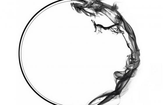 创意抽象墨水画风格中国龙组成的圆环png图片免抠素材