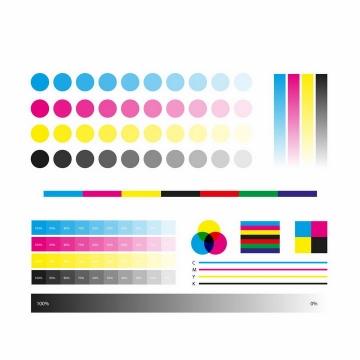 各种灰度浓度的CMYK色值卡校准颜色测试图png图片免抠eps矢量素材