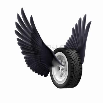 逼真的汽车轮胎长着黑色的翅膀png图片免抠矢量素材