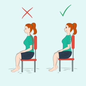 卡通美女正确和错误坐姿示范图片免抠素材