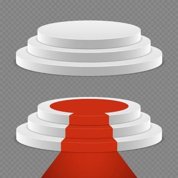 两款白色圆形展台和红色地毯免抠矢量图片素材