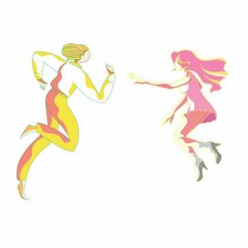 卡通情侣跳舞手绘插画png图片素材