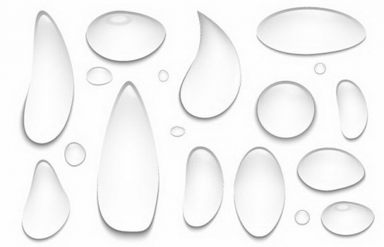 各种形状的透明水滴效果图免抠png图片矢量图素材