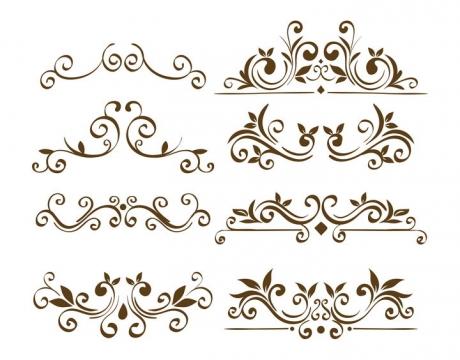 8种简约的树叶欧式花纹装饰图片免抠矢量素材
