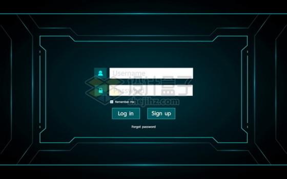 科幻风格蓝色账号登录窗口显示界面553237png图片素材