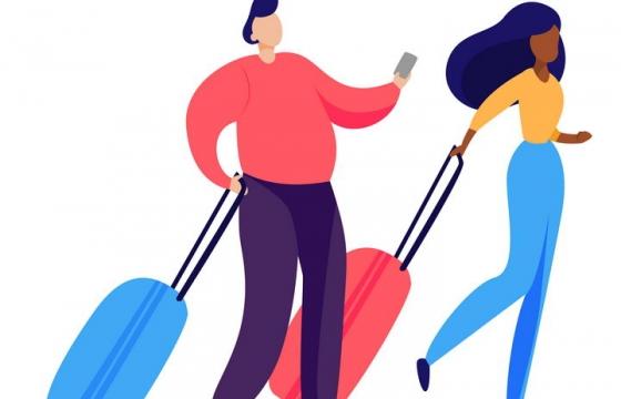 扁平插画风格拖着行李箱去旅行的男女png图片免抠矢量素材