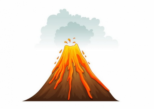卡通漫画风格正在喷发流淌岩浆的火山png图片免抠矢量素材
