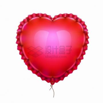 红色心形气球褶皱边缘情人节png图片素材