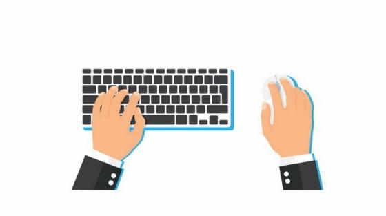 扁平化风格操作键盘和鼠标的双手png图片免抠矢量素材