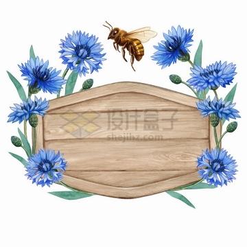 六边形木板和荷兰菊紫色花朵花卉小蜜蜂标题框水彩插画png图片免抠矢量素材