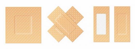 4种不同形状的创口贴医疗用品免抠png图片矢量图素材