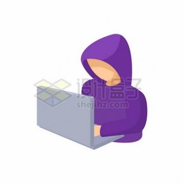 紫色衣服的卡通黑客641239png图片素材