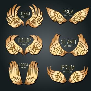 六款金色徽章翅膀矢量标志图片免抠素材