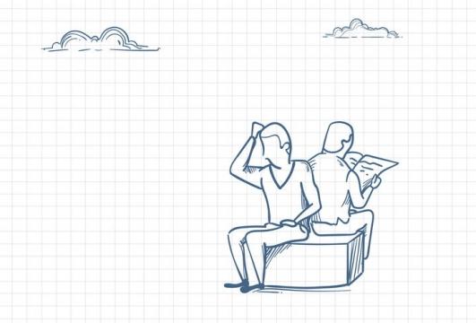 圆珠笔画涂鸦风格两个坐着的商务人士职场人际交往配图图片免抠矢量素材