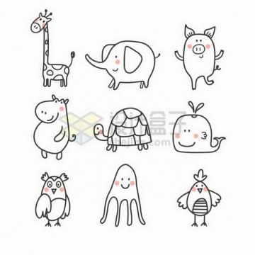 卡通长颈鹿大象小猪河马乌龟鲸鱼猫头鹰章鱼小鸟等动物简笔画儿童画png图片免抠矢量素材