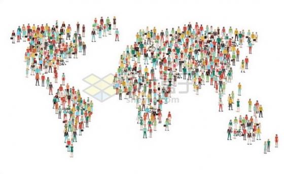 人群组成的世界地图图案世界人口日727882png图片素材