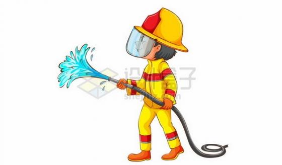 卡通消防员拿着水管灭火455394 png图片素材