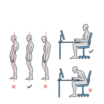 手绘风格正确错误站姿和坐姿对比图图片免抠素材