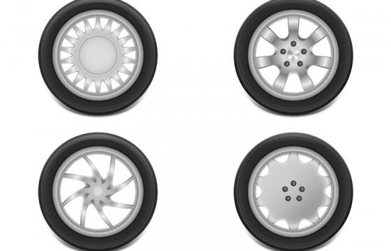 4款简约风格的汽车轮胎轮毂侧面图png图片免抠矢量素材