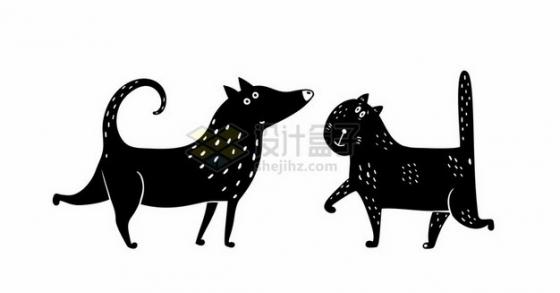 抽象黑白色卡通猫咪和狗狗205495png图片素材
