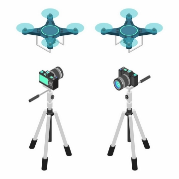 2.5D风格蓝色无人机航拍小飞机和三脚架上的单反相机png图片免抠矢量素材