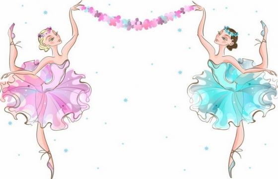 两个卡通芭蕾舞女孩跳舞拉开彩条png图片免抠矢量素材