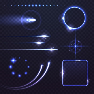 各种紫色光线星光效果发光线条和发光边框图片免抠矢量图素材