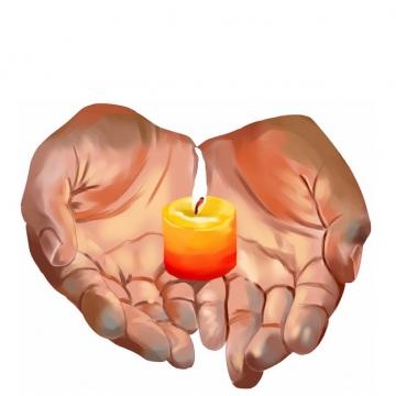 彩绘风格双手捧着许愿蜡烛3945865png图片素材