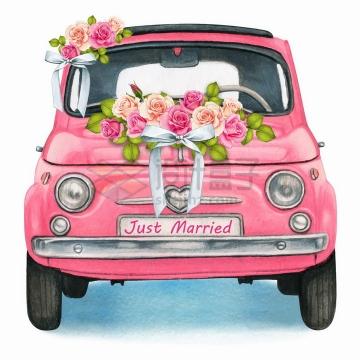 装饰鲜花的粉红色小汽车婚车结婚用车水彩插画png图片免抠矢量素材