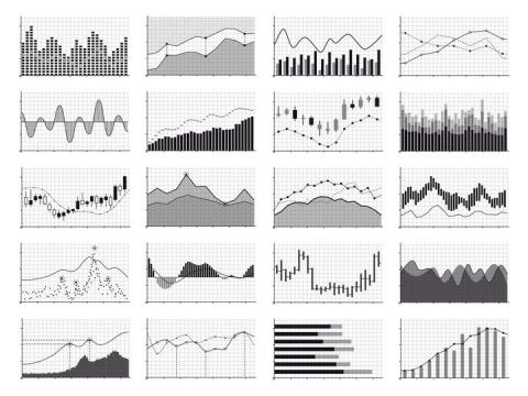 20款黑白色的曲线图图案免抠矢量图片素材