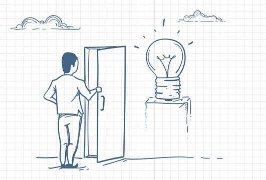 圆珠笔画涂鸦风格打开门看到象征点子的电灯泡职场人际交往配图图片免抠矢量素材