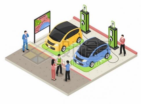 两辆正在使用充电桩的电动汽车436048png图片素材