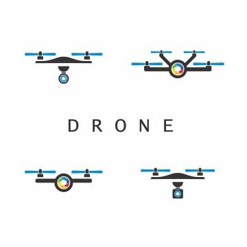 4款扁平化风格简约带摄像头的无人机logo设计方案png图片免抠矢量素材