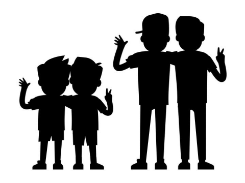 肩并肩一起的好朋友儿童和青少年剪影图案免抠矢量图片素材