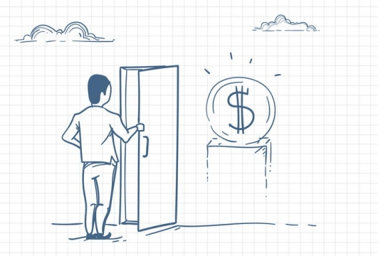 圆珠笔画涂鸦风格打开门看到象征金钱的美元符号职场人际交往配图图片免抠矢量素材