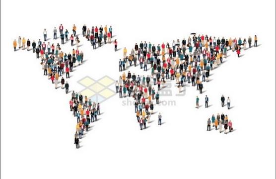 人群组成的世界地图图案世界人口日596797png图片素材
