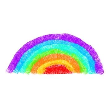 手绘涂鸦风格半圆形七彩虹图案图片免抠素材