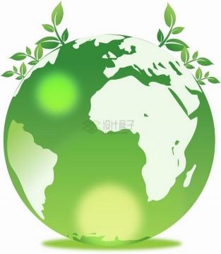 绿色地球上长出的嫩芽小树苗png图片素材