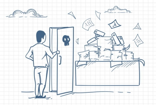 圆珠笔画涂鸦风格打开门看到象征繁重工作的文件职场人际交往配图图片免抠矢量素材