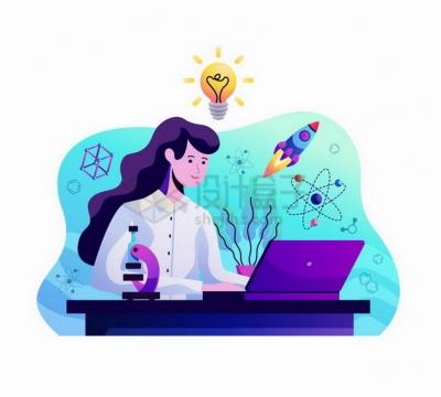 女科学家坐在电脑跟前做研究扁平插画png图片素材