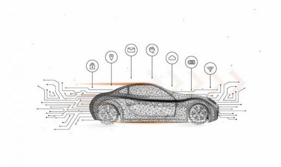 点线组成的智能汽车电动汽车png图片免抠矢量素材
