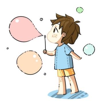 MBE风格卡通吹泡泡的小男孩六一儿童节图片免抠素材
