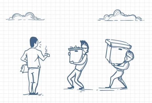 圆珠笔画涂鸦风格捧着咖啡的领导看员工搬东西职场人际交往配图图片免抠矢量素材