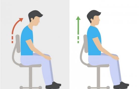 扁平风格办公人员正确和错误坐姿对比图图片免抠素材