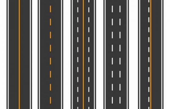 5种不同划线的高速公路图案交通法规免抠png图片矢量图素材