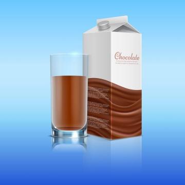 盒装的巧克力牛奶和玻璃杯中的饮料免抠矢量图片素材