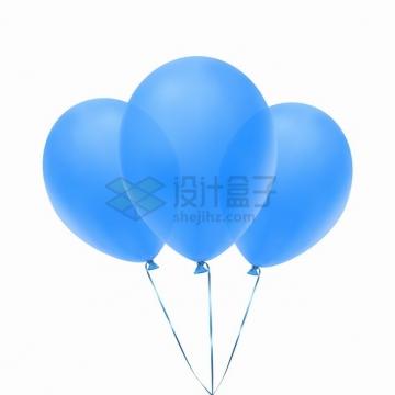 3个半透明蓝色气球png图片素材