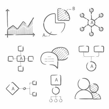 手绘黑色线条风格折线图饼形图组织图等思维导图PPT数据图表png图片免抠矢量素材