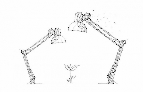点线组成的两个台灯和小树苗png图片免抠矢量素材