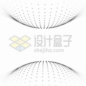 抽象小黑点组成的两个半球形装饰图案png图片素材